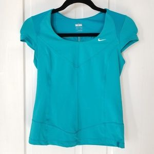 Nike Aqua Blue Athletic Cap Sleeve Scoop Neck Top